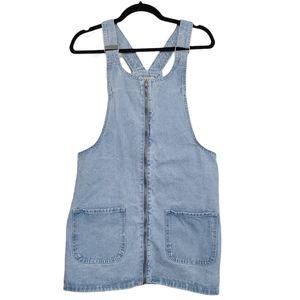 Denim Co Zip Front Light Wash Overall Dress sz 6